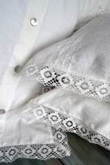 Provincial Living, Antique white linen duvet cover with lace
