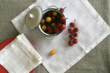 Set of 7 White Linen Placemats with linen lace