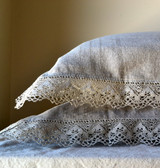 Natural undyed linen pillowcase with lace. Provincial Living Collection.