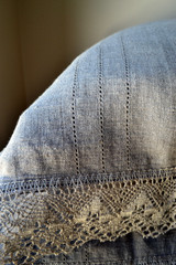 Natural linen pillowcase with lace. Provincial Living Collection.