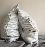 Grey & White Pinstriped Linen pillow case