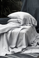 Light Grey stonewashed linen fitted sheet