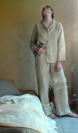 Natural (undyed) stonewashed linen sleepwear. Pyjama Set