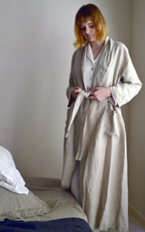 Natural (undyed) Stonewashed Linen Bath/Spa Robe