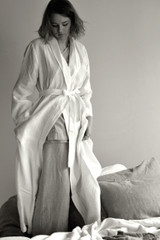 Antique white stonewashed Linen Bath/Spa Robe