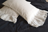 Antique white linen pillow case with ruffle