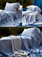 Sky Blue stonewashed linen fitted sheet