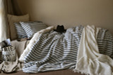 French Navy Ticking Heavy weight Rustic Linen Duvet/Quilt cover