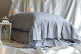 Light Grey stonewashed linen pillow case with long ruffle