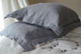 Dove Grey Heavyweight Rustic Linen Pillowcase