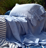 Sky blue pure stonewashed linen pillow case