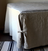 Box Pleated Bedskirt /Dust Ruffle, Natural stonewashed linen