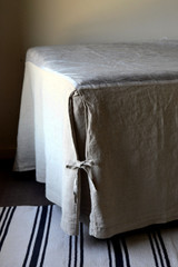 Box Pleated Bedskirt /Dust Ruffle, Natural stonewashed linen