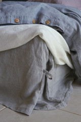 Light Grey Box Pleated Dust Ruffle, Natural stonewashed linen