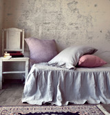 Light Grey Ruffled Linen Bedskirt⎮Bed Valance
