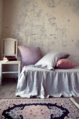 Light Grey Ruffled Linen Bedskirt⎮Bed Valance