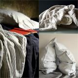 Grey & White Pinstriped stonewashed linen Top⎮Flat sheet