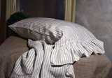 Grey & White Pinstriped linen pillow case with ruffle
