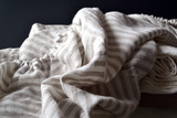 Grey & White Pinstriped stonewashed linen fitted sheet. All sizes