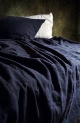 Midnight blue stonewashed linen pillow case