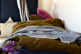 Dark Olive Green natural stonewashed linen bedding set