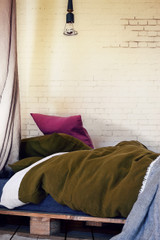 Dark Olive Green natural stonewashed linen bedding