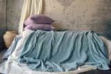 Waffle linen blanket, Duck Egg Blue