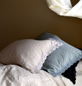 Cream laced linen pillow case