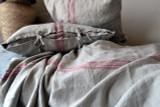 Grainsack Red Stripe Heavy Linen Coverlet⎮Bed cover, Red stripe