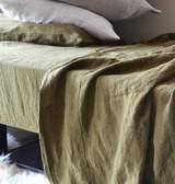 Olive green stonewashed linen Top⎮Flat sheet