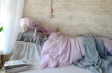 Dusty Pink linen pillow case with ties