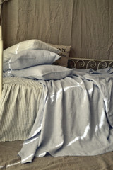 Silver Light Grey stonewashed linen Top⎮Flat sheet