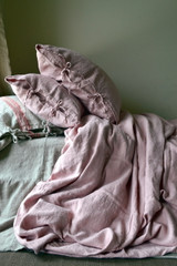 Rose Quartz Rustic Heavy Weight Linen Duvet/ Quilt Cover
