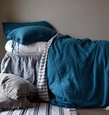 Teal Rustic Heavy Weight Linen Duvet/ Quilt Cover