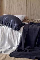 Frayed ruffle linen pillow case in Indigo blue