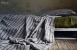 Vintage Black Ticking stonewashed linen Top⎮Flat sheet