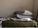 Vintage Black Ticking linen pillow case