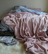 Rose Quartz Heavy Weight Rustic Linen Bed cover/Coverlet