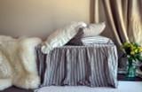 Ruffled Bed Valance⎮Bedskirt. Vintage Black Ticking linen