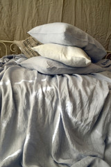 Silver Light Grey stonewashed linen fitted sheet