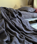 Charcoal stonewashed linen Top⎮Flat sheet