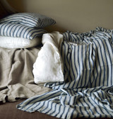 French Navy Ticking Heavy Weight Rustic Linen Bed cover/Coverlet