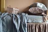 Duck Egg Blue Heavy Linen Bed cover/Coverlet/ Rustic Linen Sheet