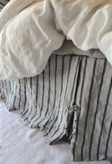 Vintage Black Ticking Box Pleated Dust Ruffle