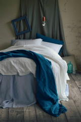 Pure Elegance, Bright white stonewashed linen duvet/quilt cover