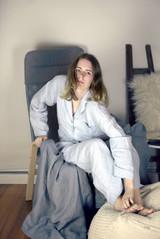 Silver Grey stonewashed linen sleepwear. Pyjama Set