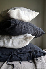 Peppercorn Dark Grey Heavy linen pillow case