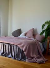 Waffle Linen Blanket, Rose Quartz (Blush). Extra Heavy natural linen