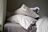 Rustic Ticking Stripe Heavy weight  linen pillow case with ties
