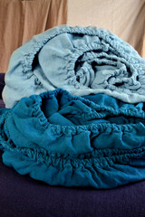 Duck Egg Blue Heavy weight Rustic linen fitted sheet
